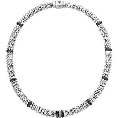 Lagos Black Caviar Pave Diamond Collar Necklace