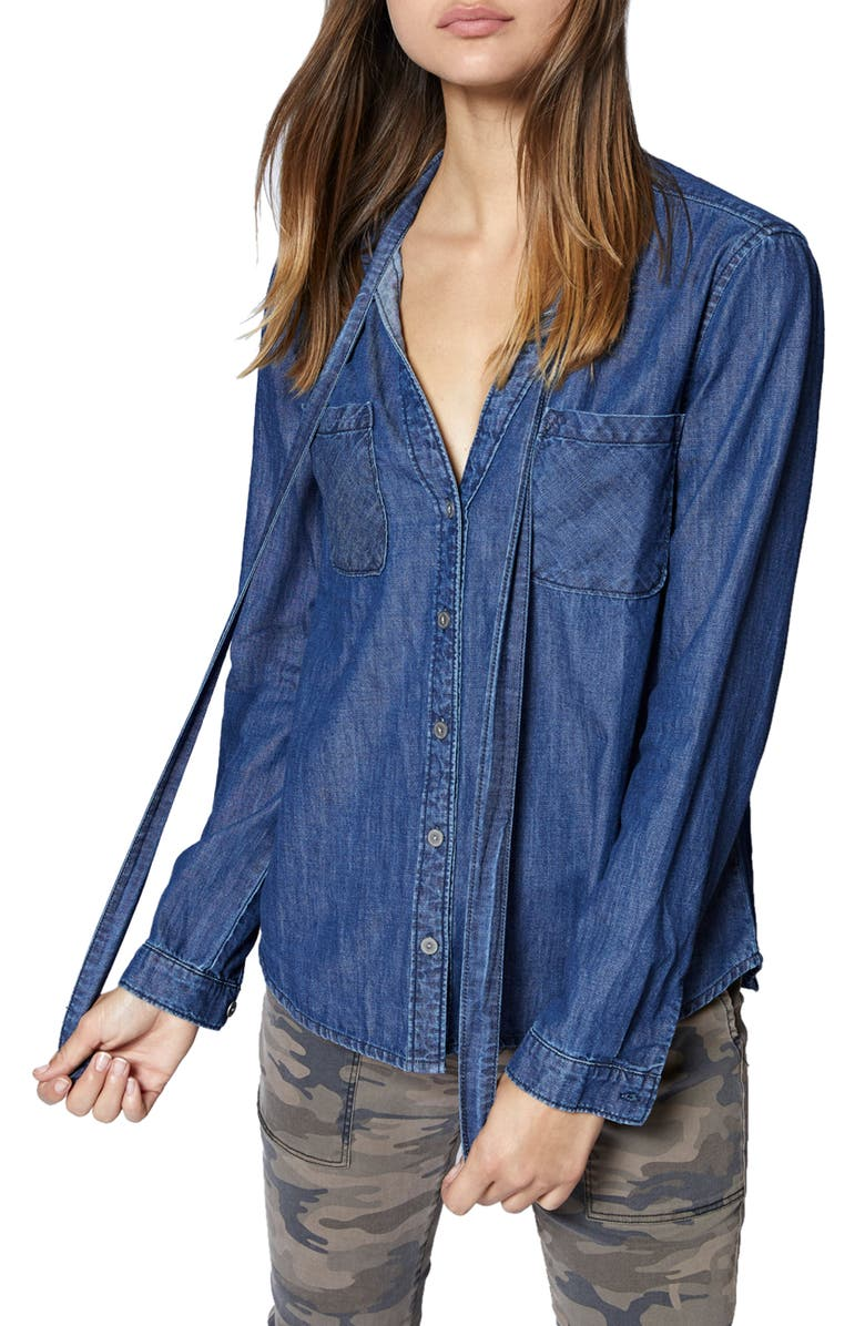 SANCTUARY Tie Neck Chambray Shirt, Main, color, 420