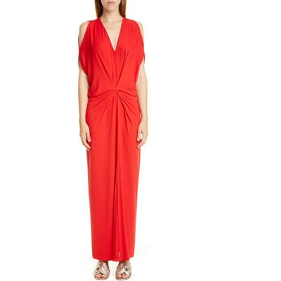 Zero + Maria Cornejo Miu Cold Shoulder Sim Jersey Maxi Dress, Red