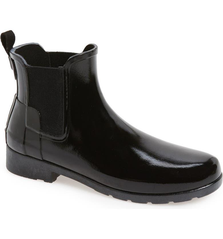 HUNTER Original Refined Chelsea Waterproof Rain Boot, Main, color, BLACK