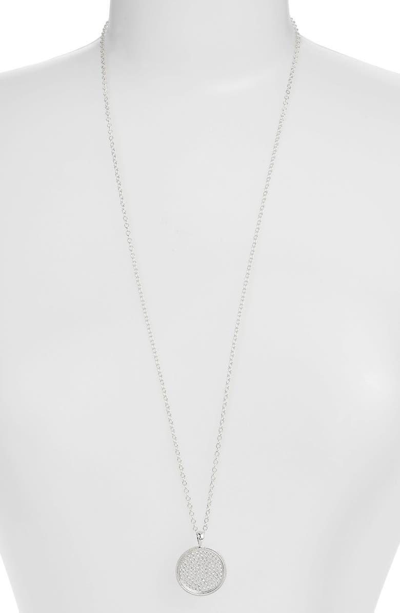 ANNA BECK Medallion Pendant Necklace, Main, color, SILVER