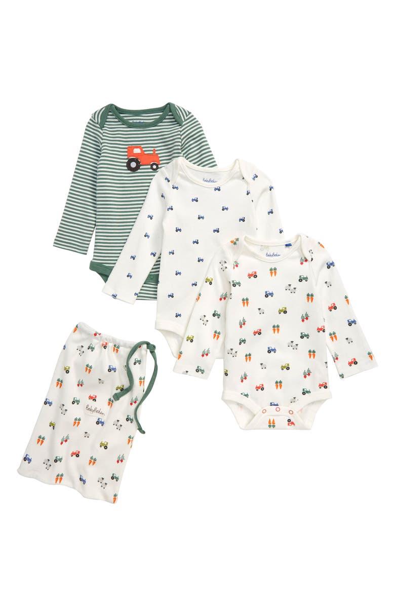 MINI BODEN Farm 3-Pack Organic Cotton Bodysuits, Main, color, BABY FARM