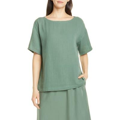 Eileen Fisher Boat Neck Boxy Organic Cotton Top, Green
