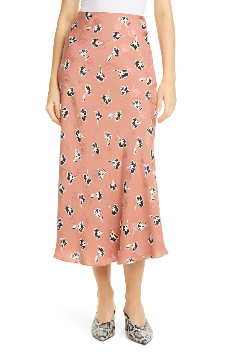 REBECCA TAYLOR Paintbrush Floral Silk Blend Skirt, Main, color, 650