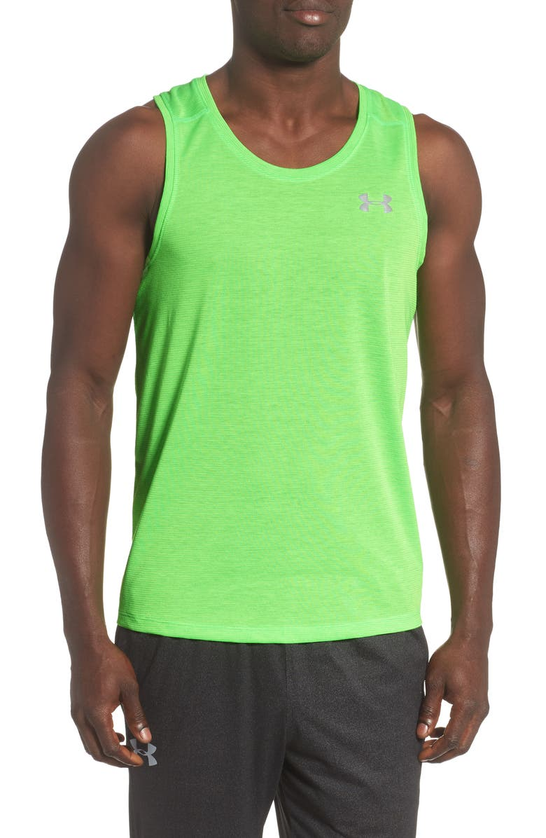 UNDER ARMOUR HeatGear<sup>®</sup> Streaker Performance Tank, Main, color, ZAP GREEN/ ZAP GREEN
