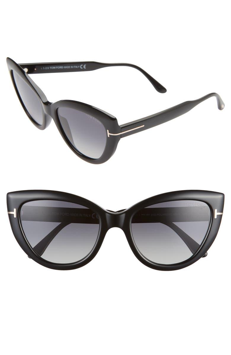 TOM FORD Jameson 55mm Cat Eye Polarized Sunglasses, Main, color, SHINY BLACK/ SMOKE POLARIZED