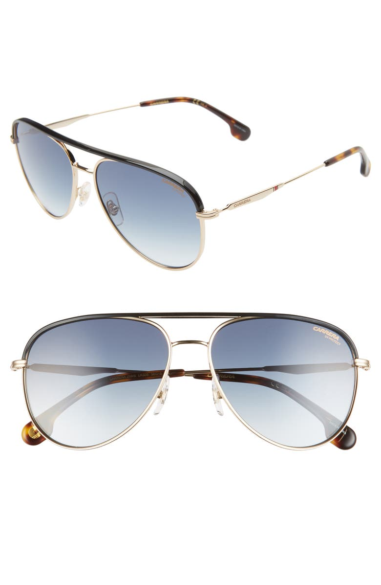 CARRERA EYEWEAR 58mm Aviator Sunglasses, Main, color, GOLD BLUE/ DARK BLUE GRADIENT