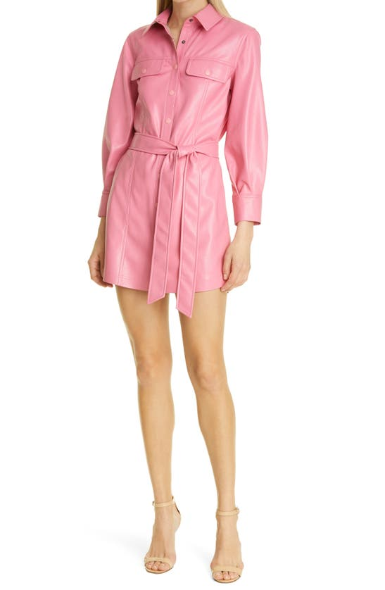 Alice And Olivia MIRANDA LONG SLEEVE BELTED FAUX LEATHER SHIRTDRESS