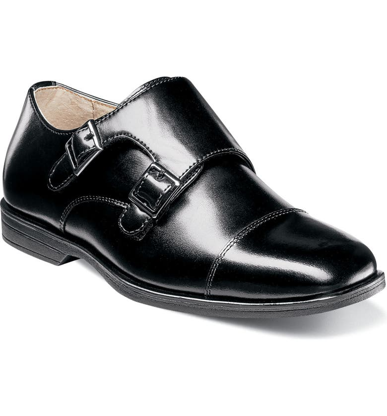 FLORSHEIM Reveal Double Monk Strap Shoe, Main, color, BLACK LEATHER