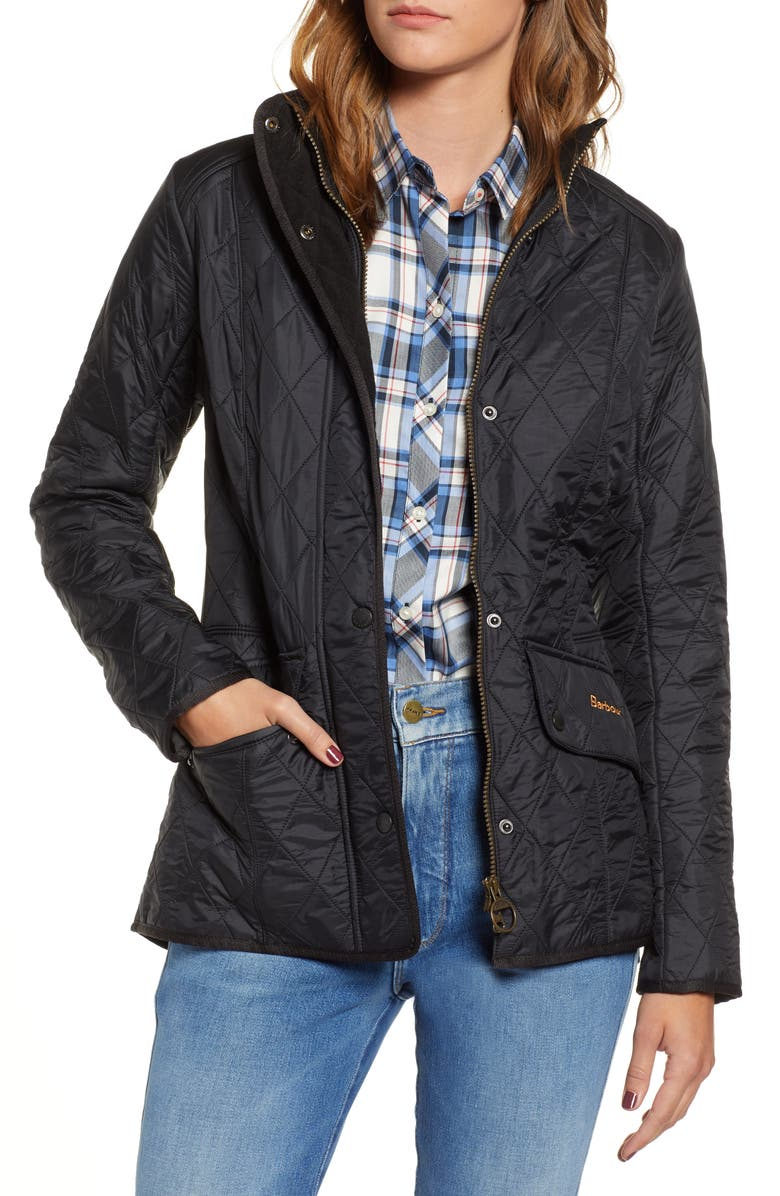 BARBOUR Cavalry Diamond Quilted Jacket, Main, color, BLACK