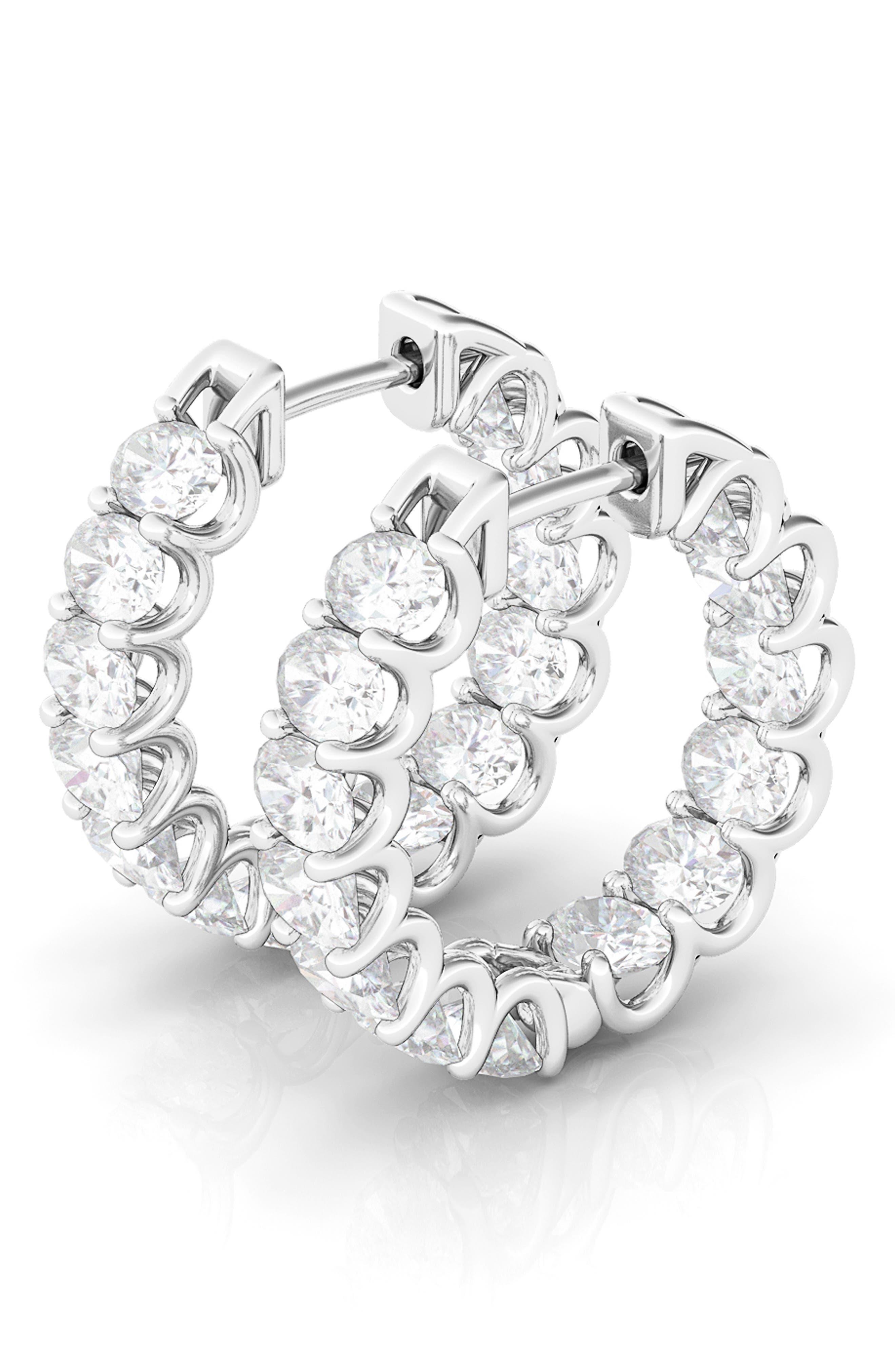 Oval Sideways Lab-Created Diamond Inside Out 14K Gold Hoop Earrings
