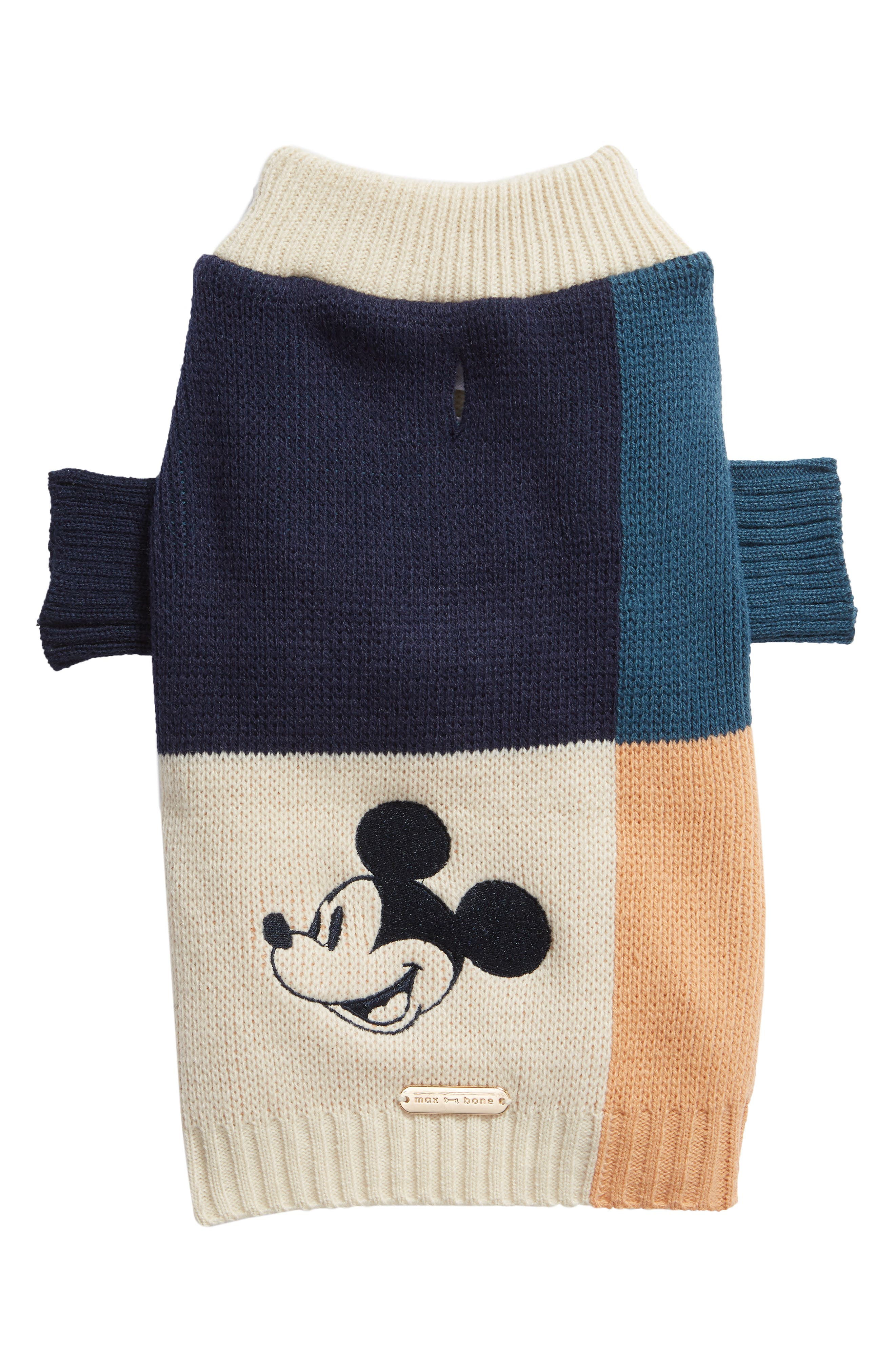 Max-Bone Colorblock Mickey Dog Sweater, Blue