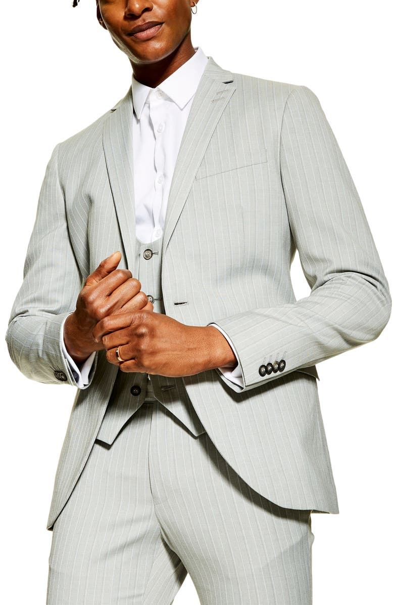 TOPMAN Super Skinny Fit Pinstripe Suit Jacket, Main, color, GREY