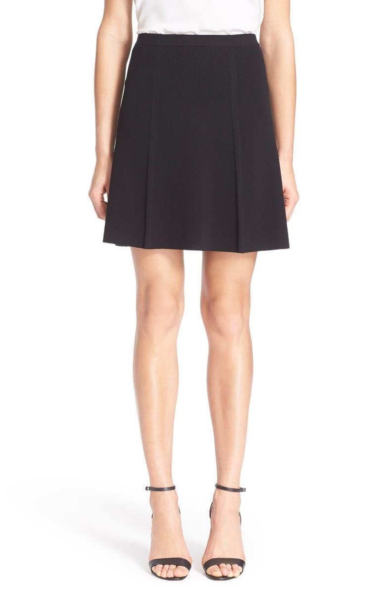 THEORY 'Arryn' Rib Knit Panel Miniskirt, Main, color, 001