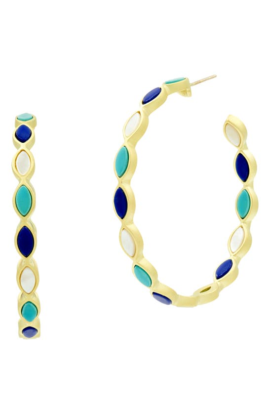 Freida Rothman Color Theory Marquise Hoop Earrings In Gold