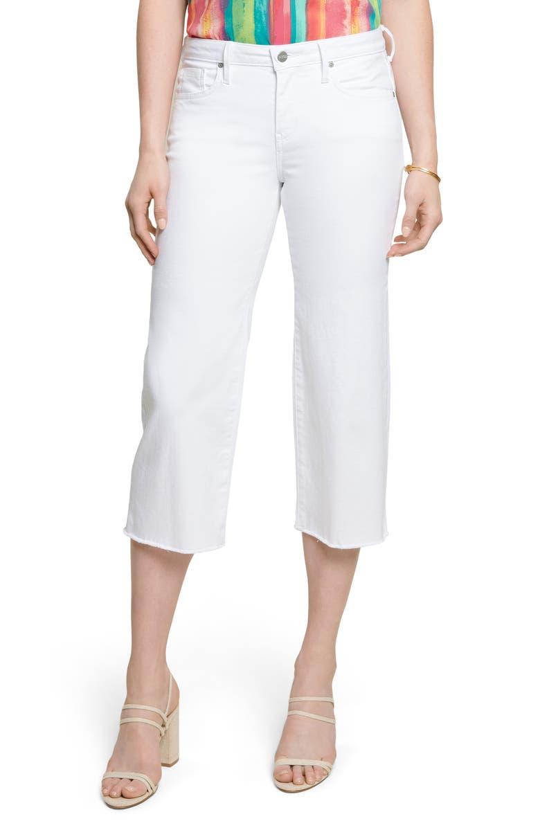 NYDJ Wide Leg Fray Hem Capri Jeans, Main, color, OPTIC WHITE