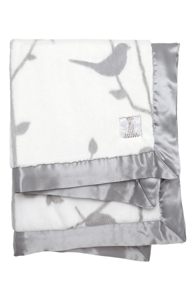 LITTLE GIRAFFE Birdsong Satin Trim Blanket, Main, color, SILVER