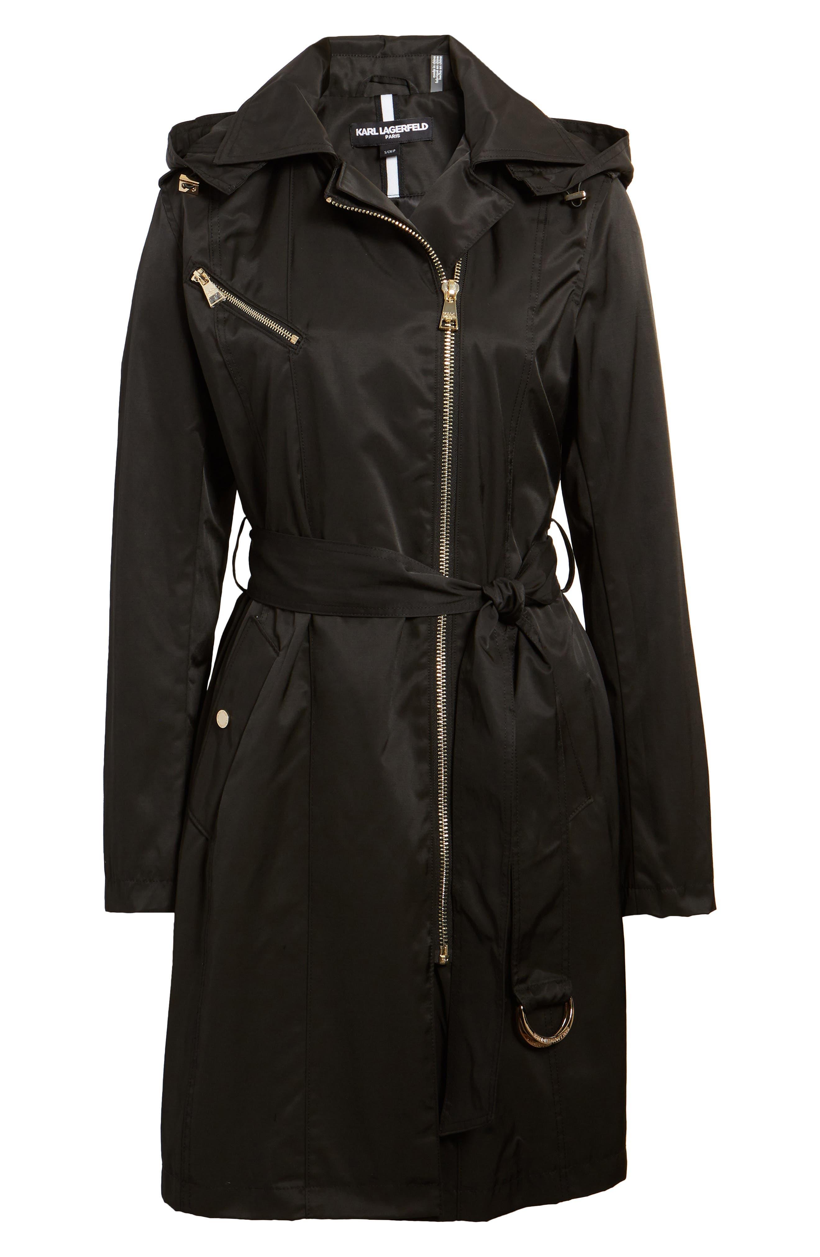 Asymmetrical Front Zip Trench Coat