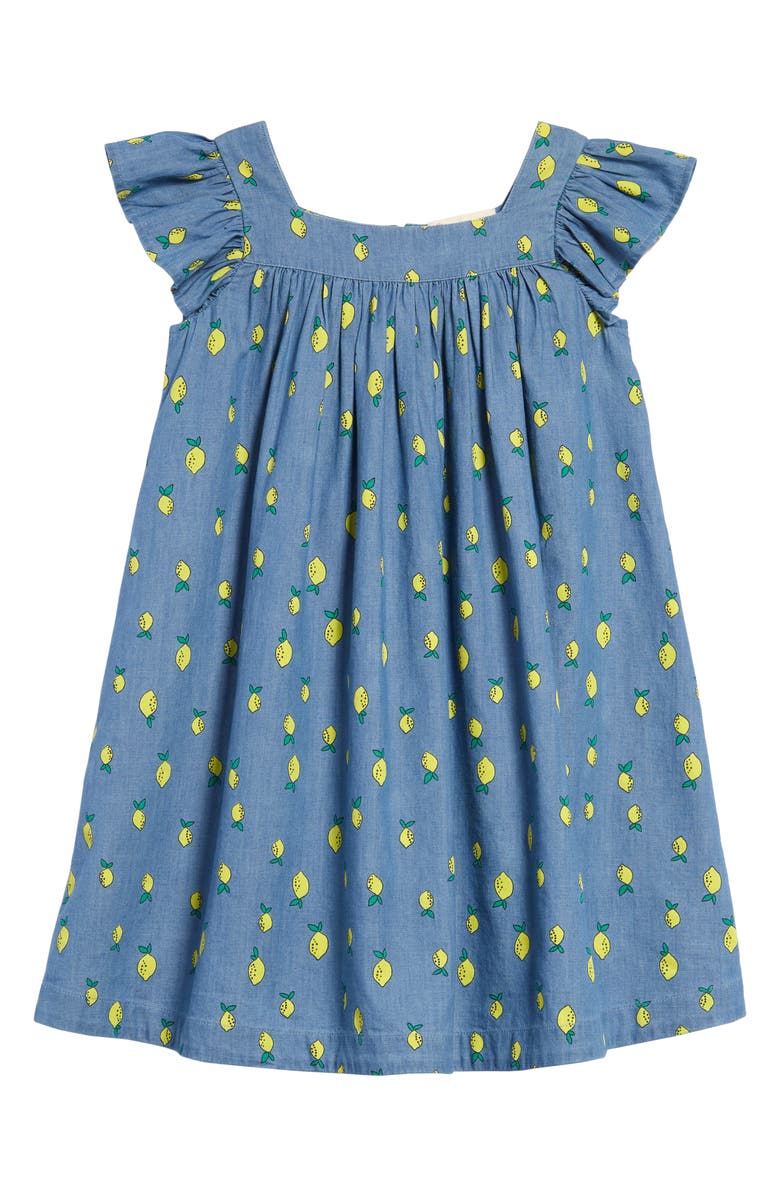 TUCKER + TATE Lemon Print Shift Dress, Main, color, BLUE CHAMBRAY LEMONS