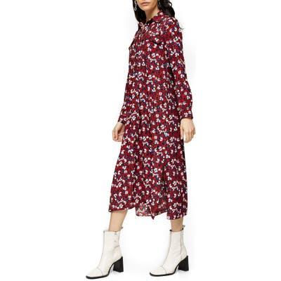 Petite Topshop Floral Print Long Sleeve Midi Shirtdress, US (fits like 6-8) - Burgundy