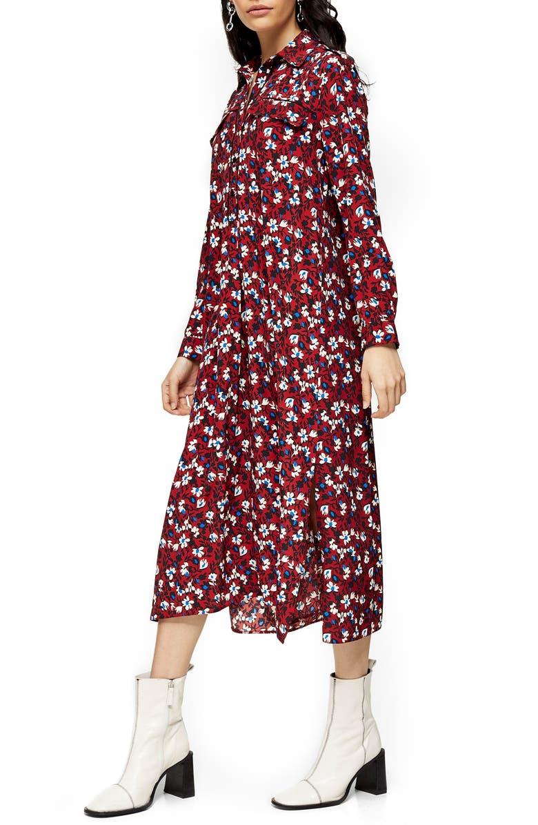 TOPSHOP Floral Print Long Sleeve Midi Shirtdress, Main, color, BURGUNDY MULTI