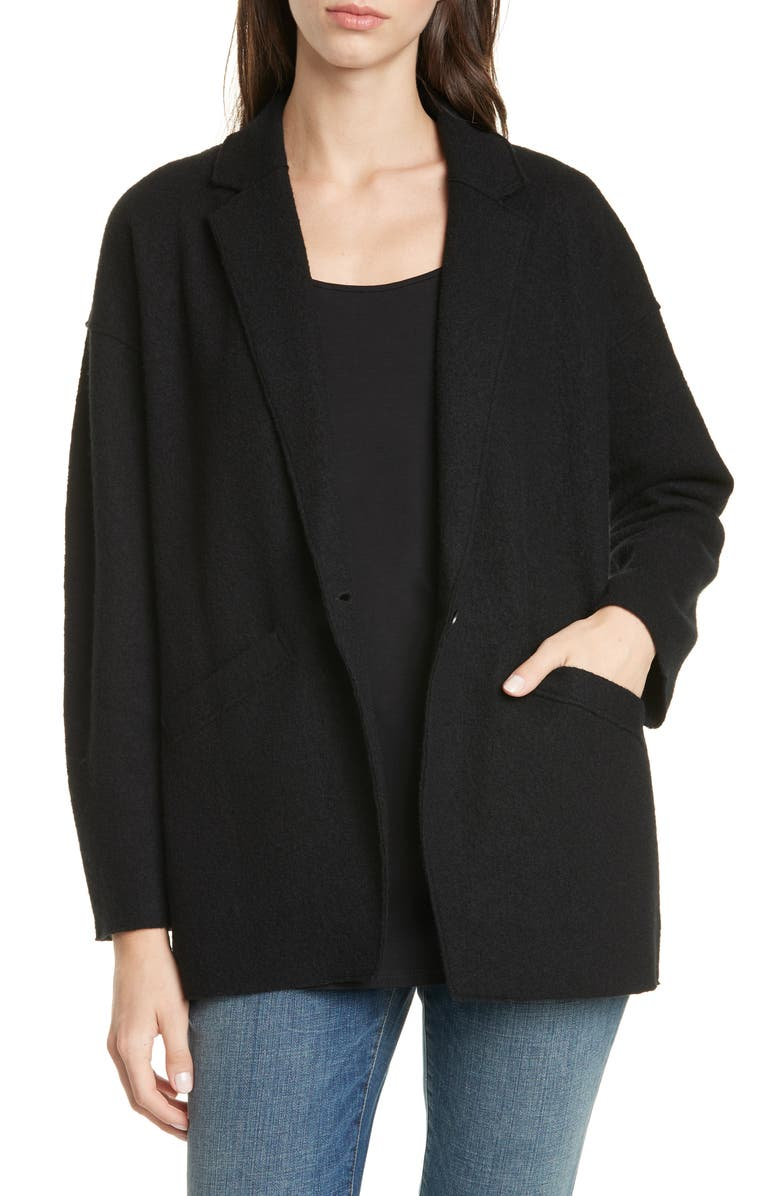 EILEEN FISHER Notched Collar Oversize Wool Jacket, Main, color, 001