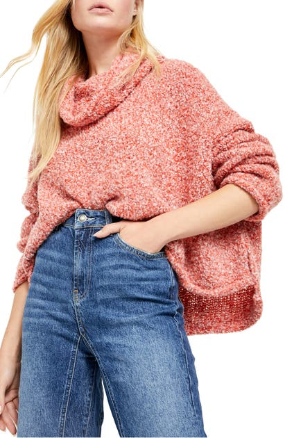 Free People Bff Cowl Neck Sweater In Red Lotus