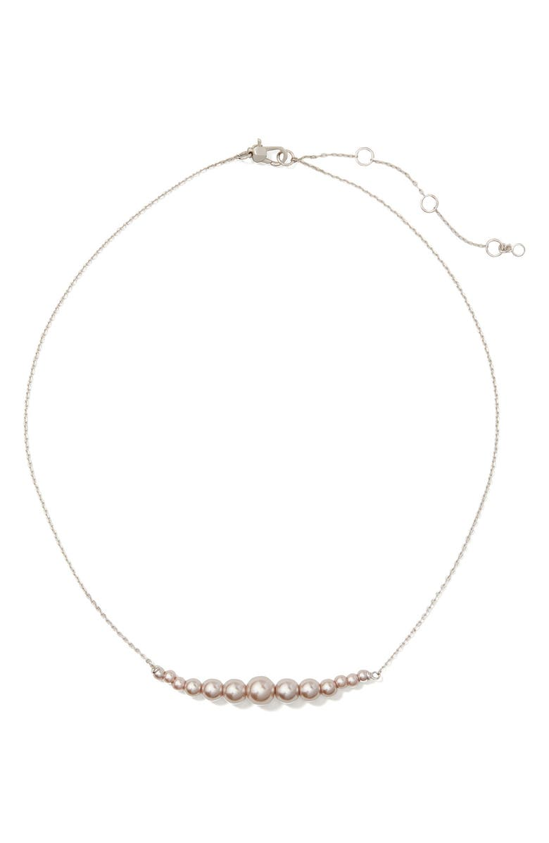 KATE SPADE NEW YORK modern imitation pearl frontal necklace, Main, color, LILAC
