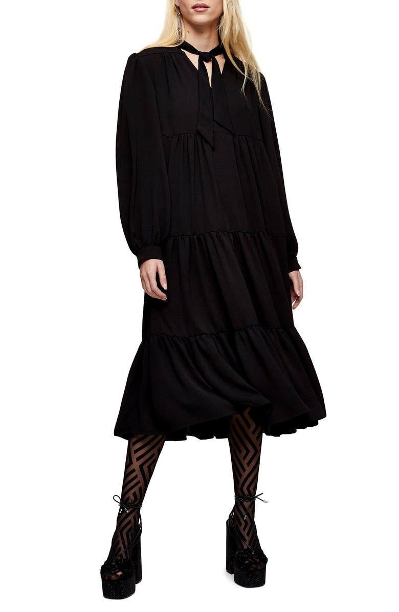 TOPSHOP Tiered Tie Neck Chuckon Long Sleeve Midi Dress, Main, color, 001