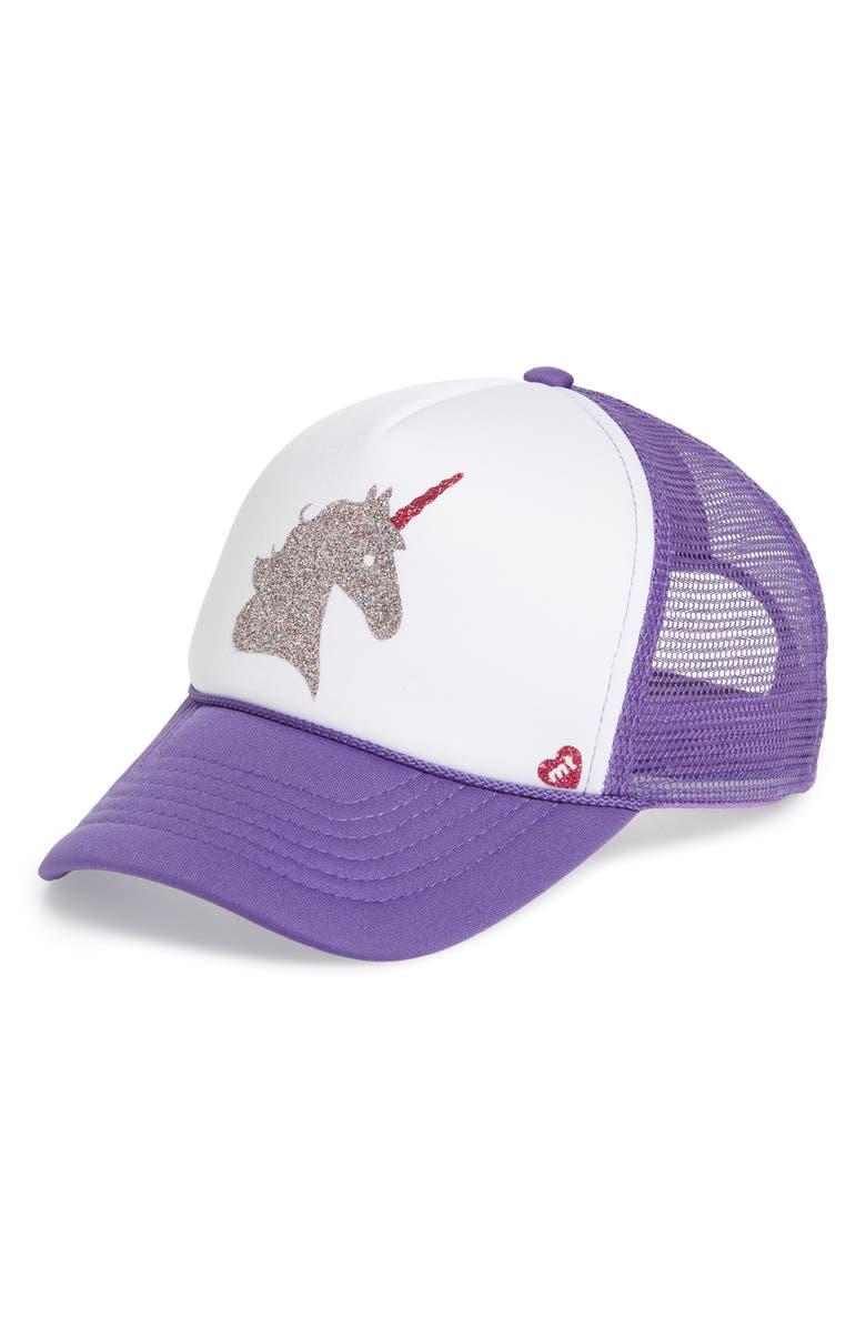 MOTHER TRUCKER & CO. Majestic Unicorn Trucker Hat, Main, color, PURPLE/ WHITE