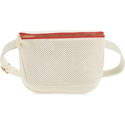 Clare V. Perforated Leather Fanny Pack - White