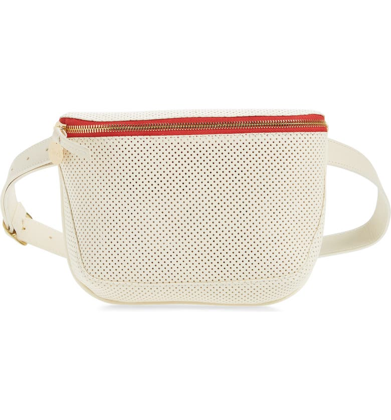 CLARE V. Perforated Leather Fanny Pack, Main, color, 100