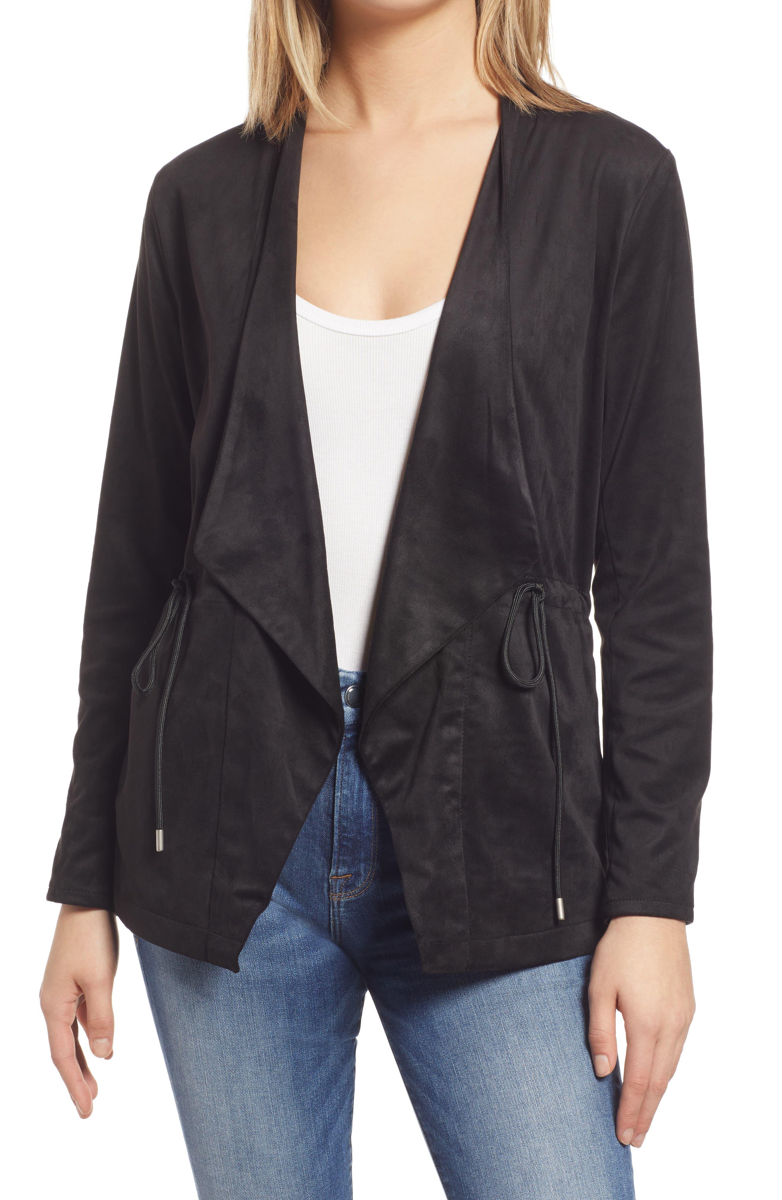 Women's Blanknyc Faux Suede Drapey Jacket, Size Medium - Black