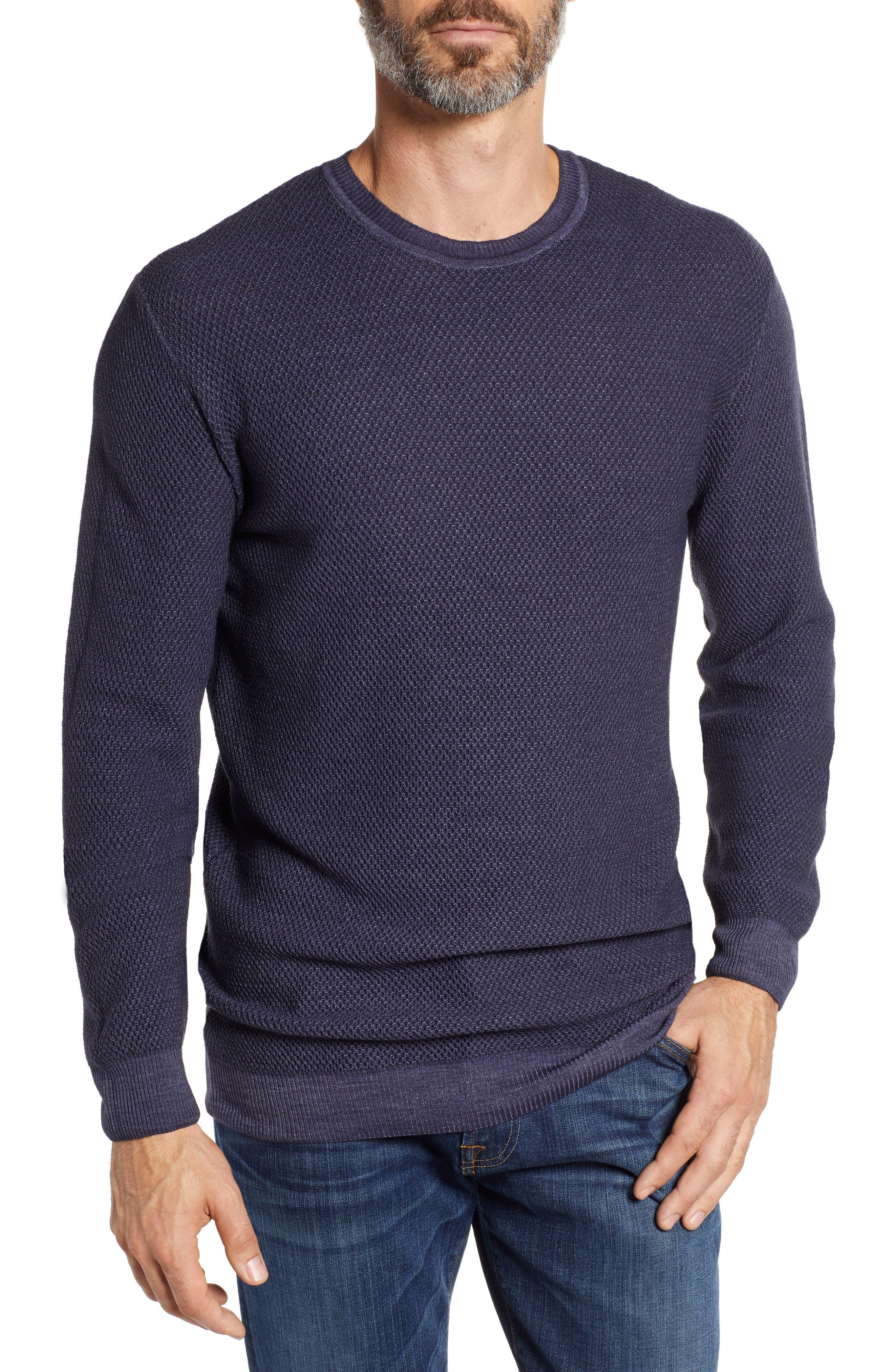 Stone Rose Honeycomb Trim Fit Wool Sweater, Black