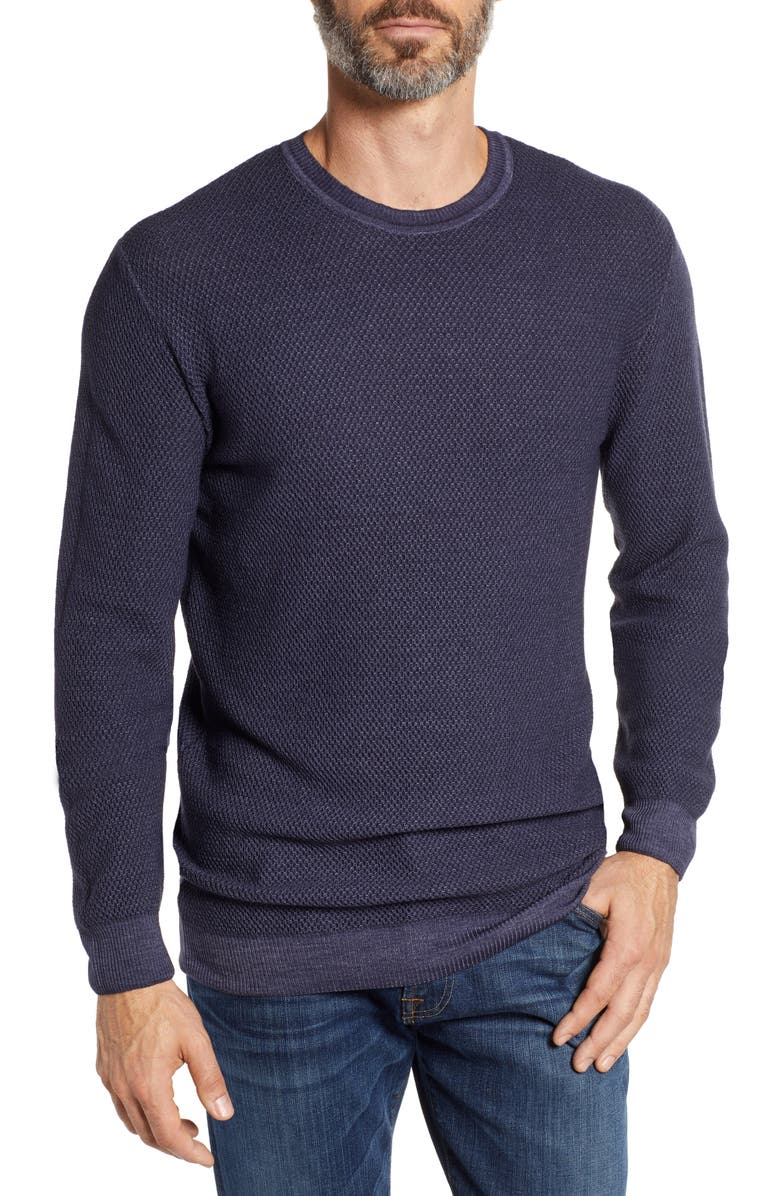 STONE ROSE Honeycomb Trim Fit Wool Sweater, Main, color, 010