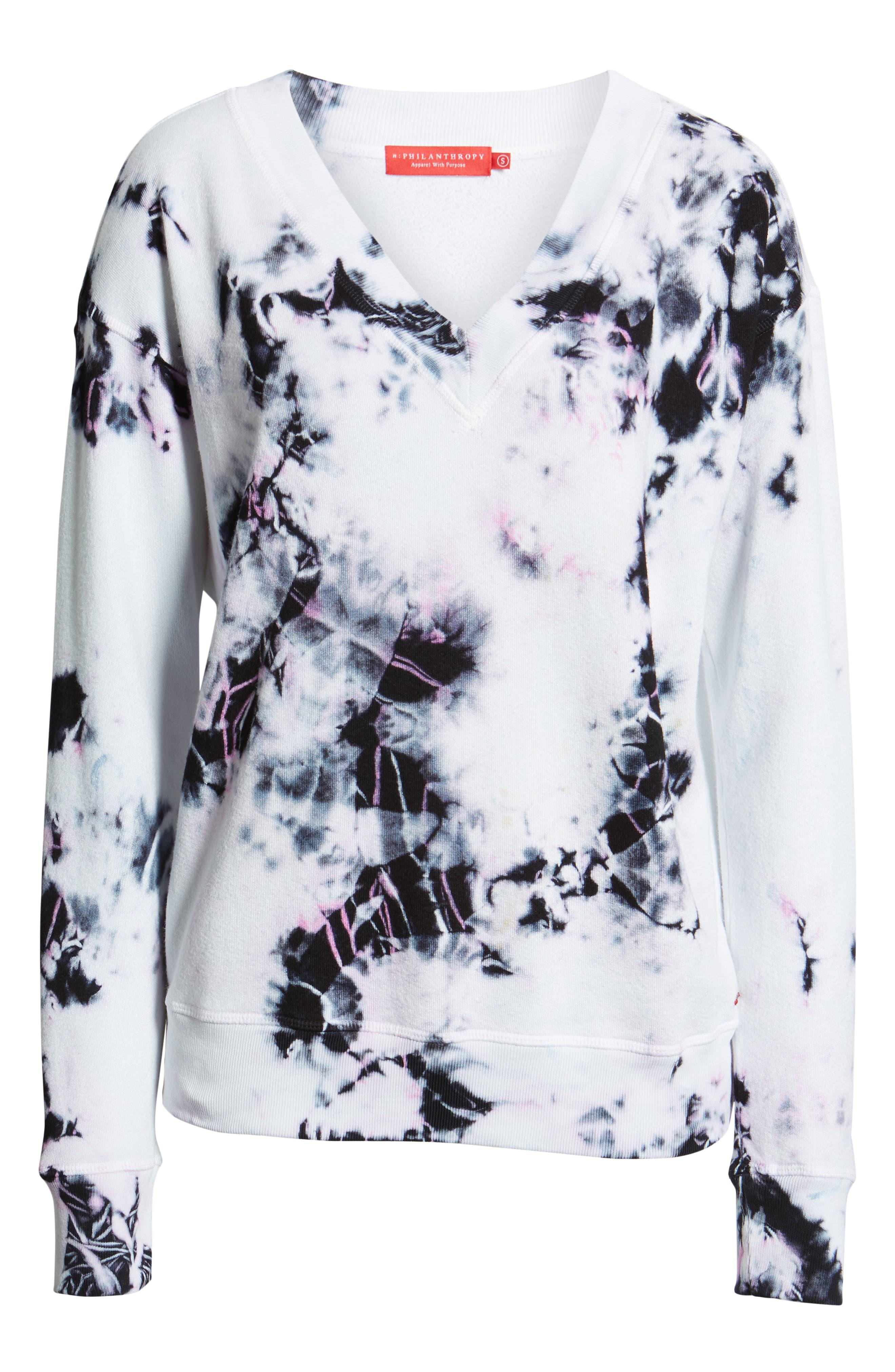 ,                             Sterling Tie Dye V-Neck Sweatshirt,                             Alternate thumbnail 6, color,                             MOONLIGHT MULTI