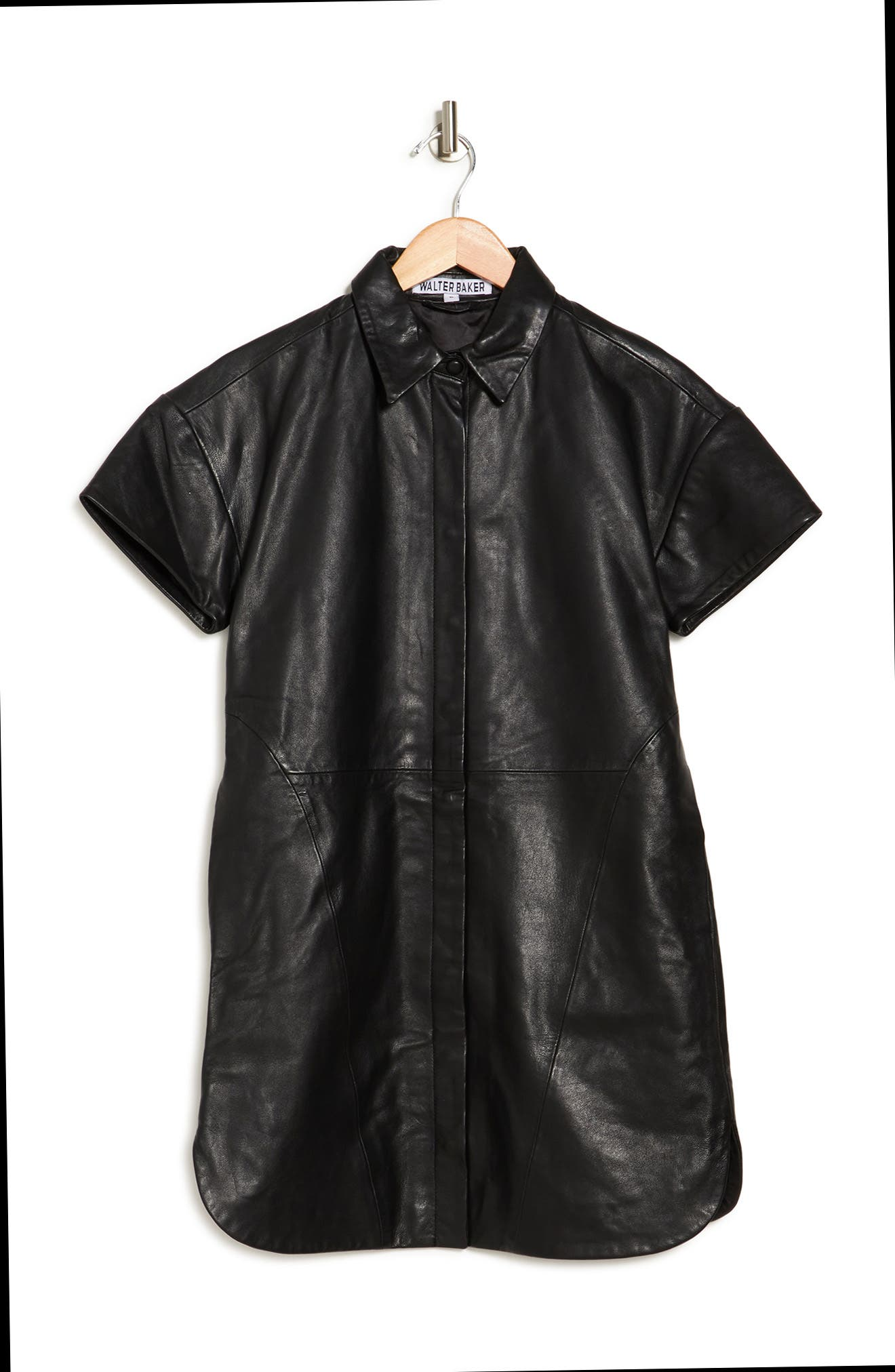 Image of Walter Baker Santana Leather Shirt Dress
