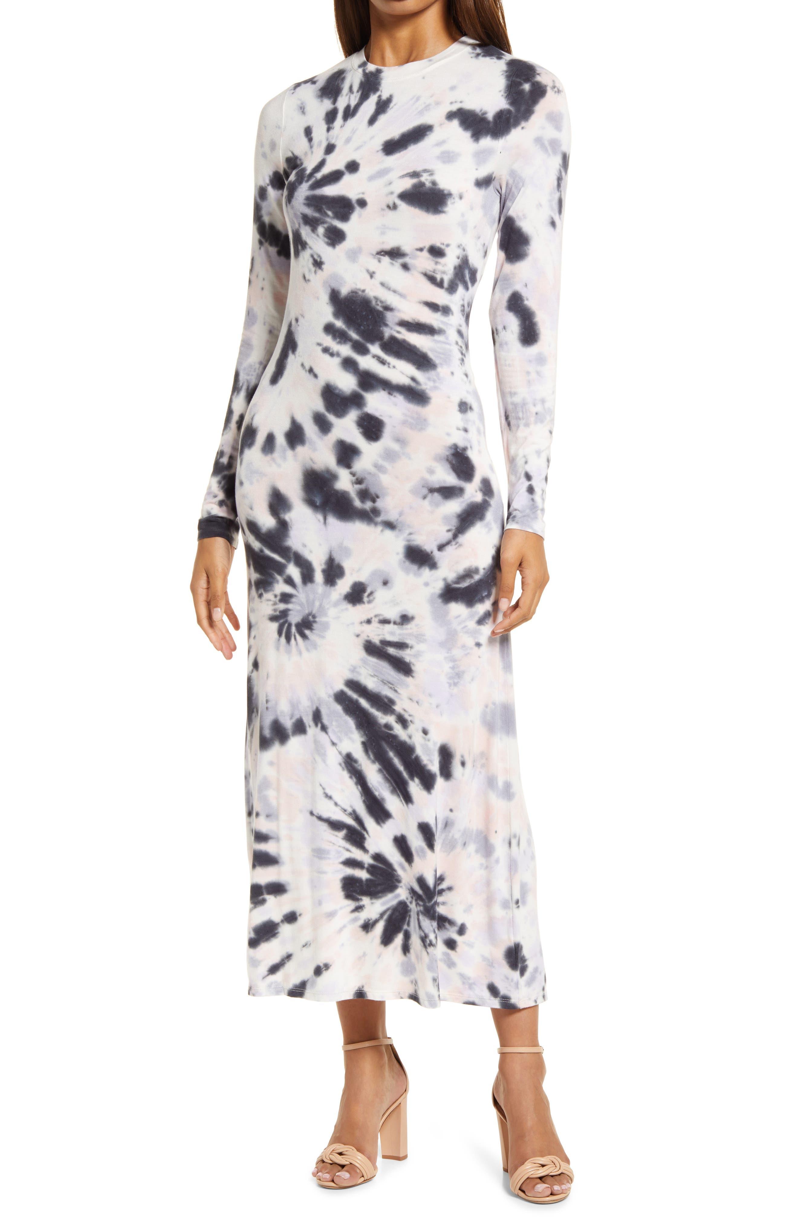 Tie Dye Long Sleeve Maxi Dress