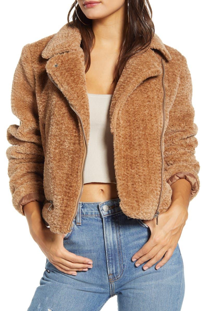 VERO MODA Faux Fur Moto Jacket, Main, color, TOBACCO BROWN