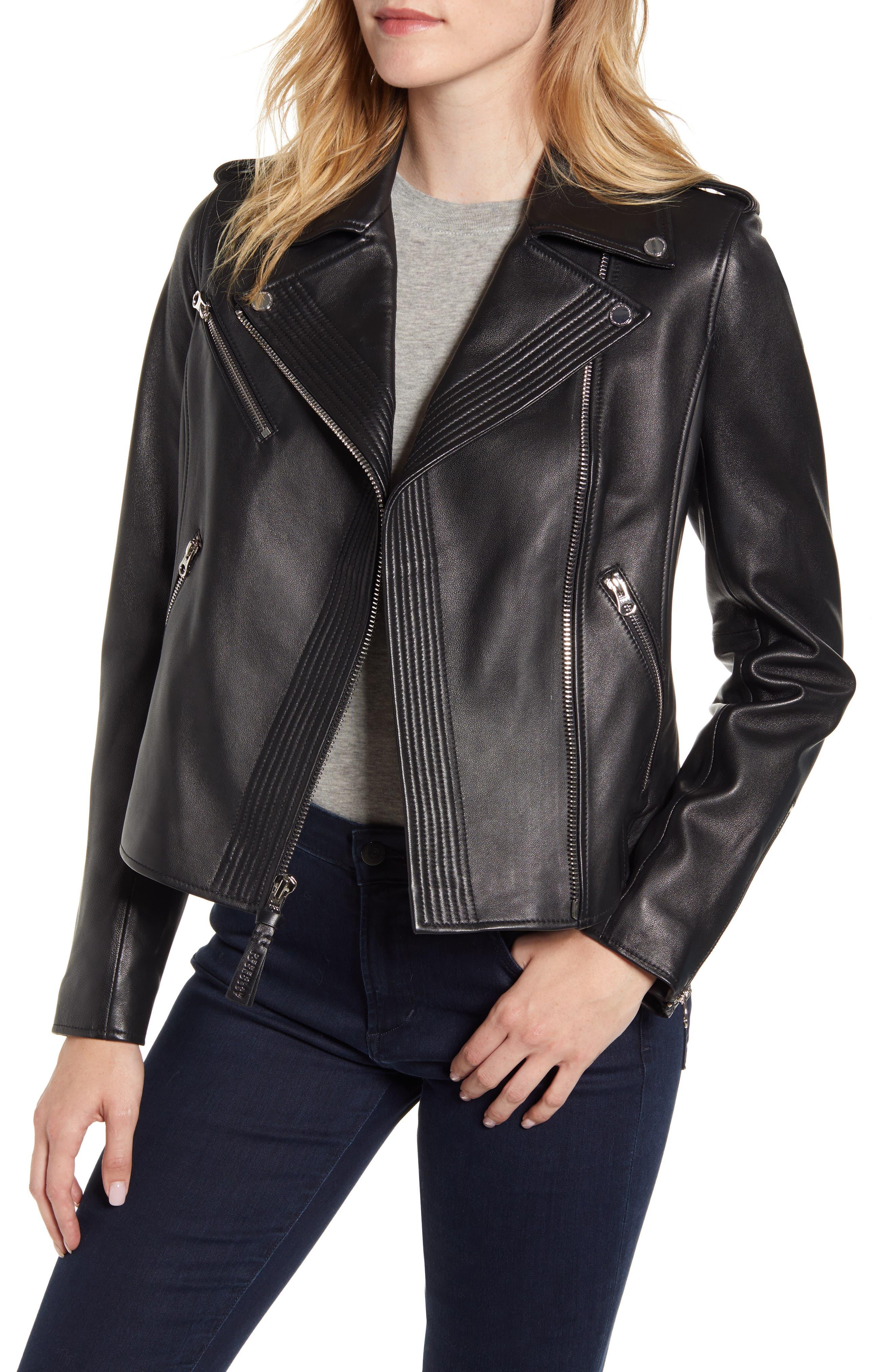 Image of DEREK LAM 10 CROSBY Asymmetrical Zip Leather Moto Jacket