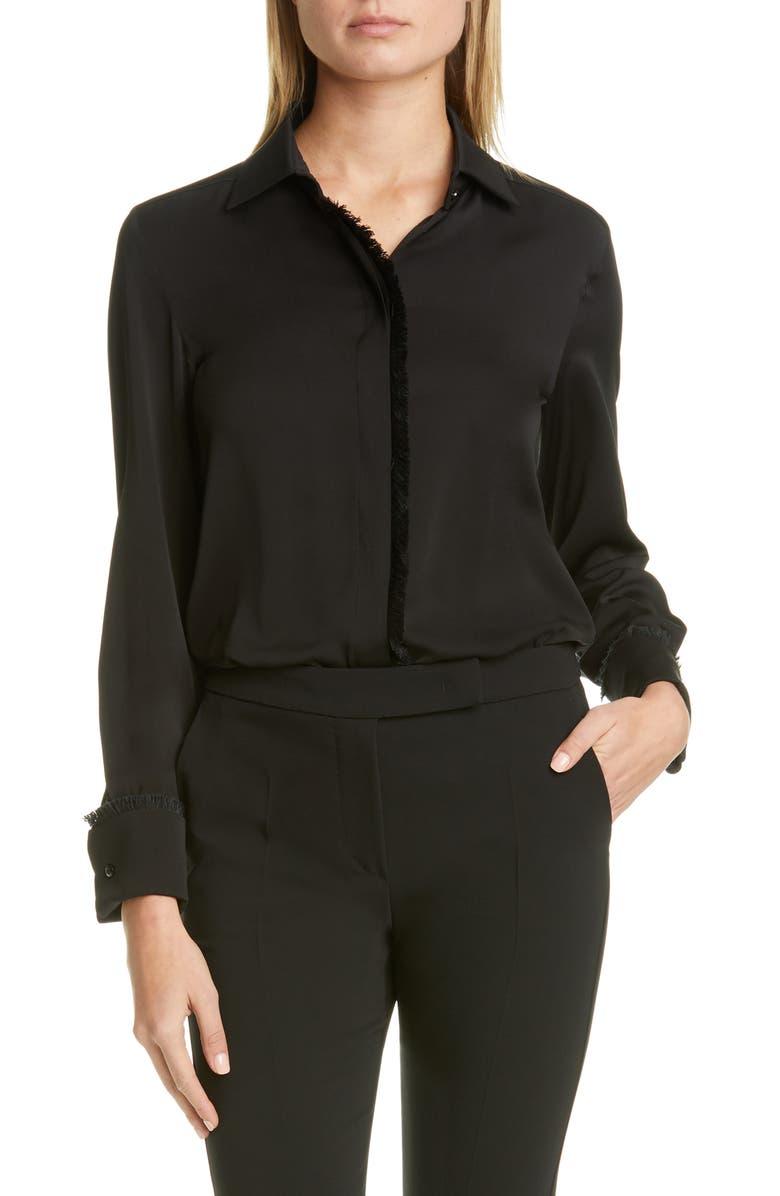 MAX MARA Mogador Fringe Silk Shirt, Main, color, BLACK
