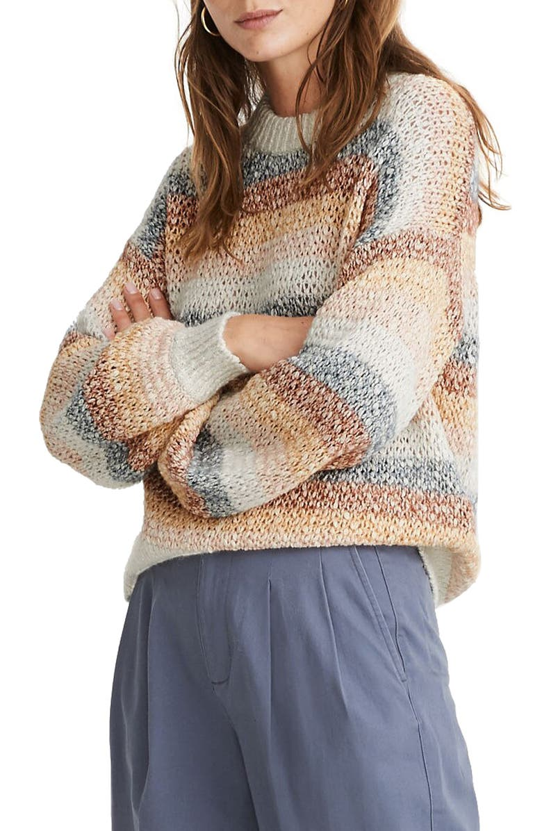 MADEWELL Baez Pullover Sweater in Stripe, Main, color, MARLED FOG