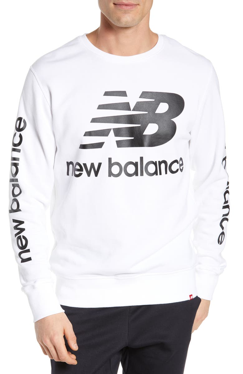NEW BALANCE Essentials Logo Crewneck Sweatshirt, Main, color, WHITE