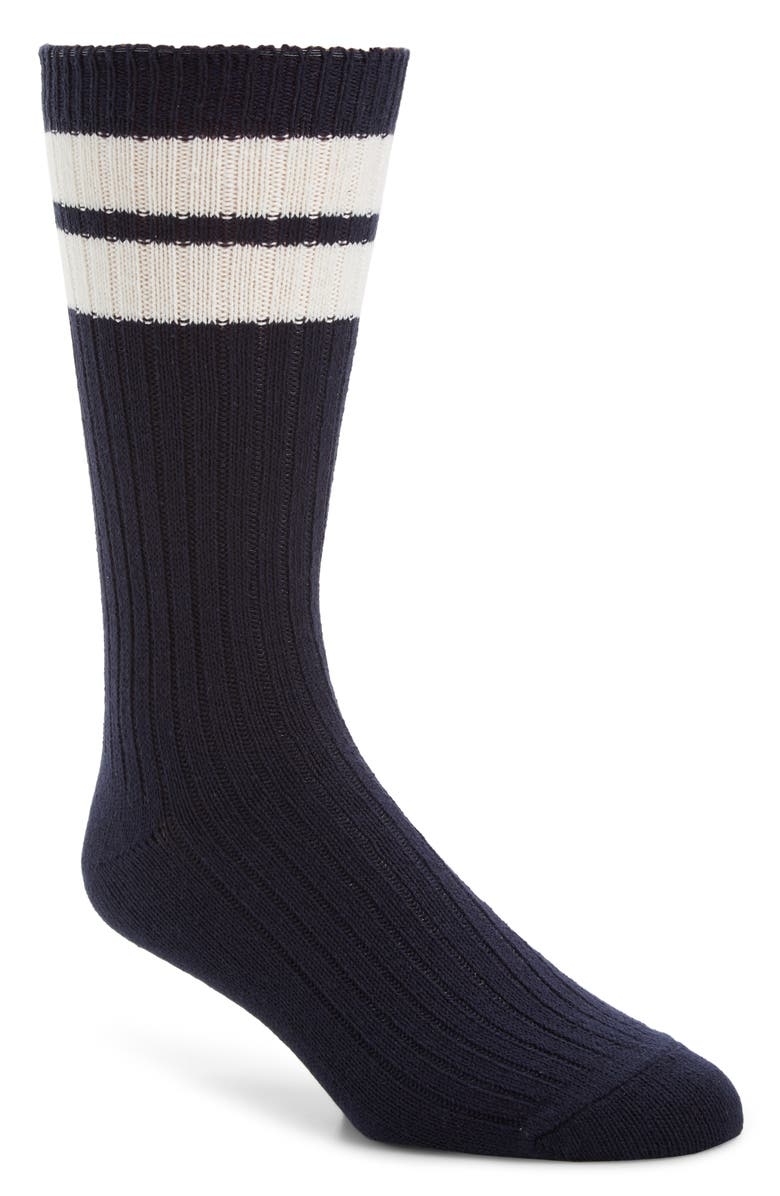 ENTIREWORLD Stripey Socks, Main, color, DARK NAVY/ WHITE