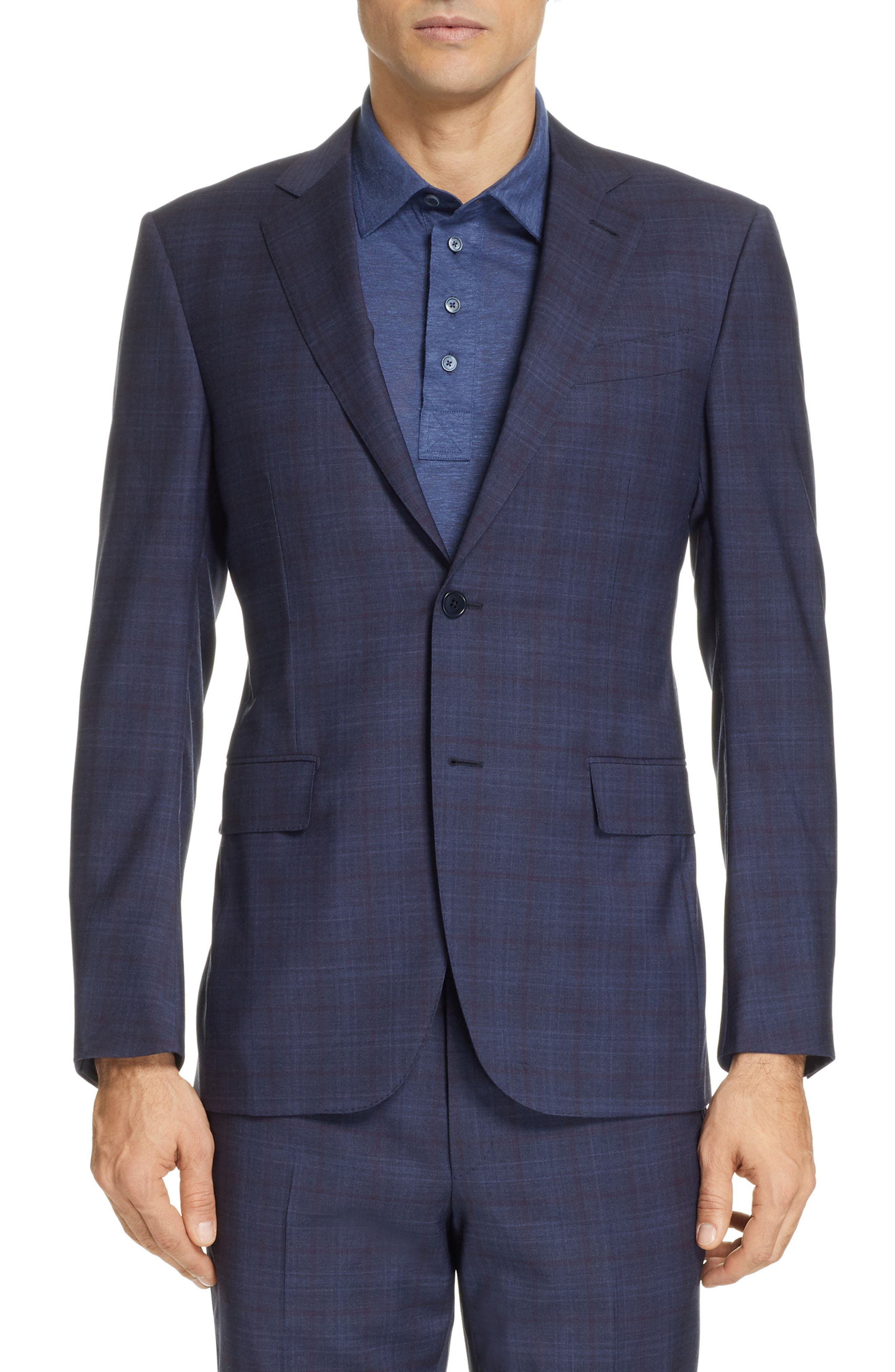 ,                             Milano Classic Fit Plaid Wool Suit,                             Alternate thumbnail 5, color,                             NAVY