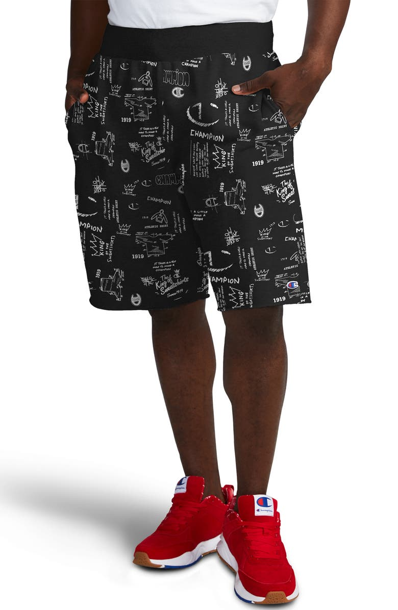 CHAMPION Reverse Weave Scribble Print Fleece Shorts, Main, color, SCRIBBLE SCRIPT BLACK