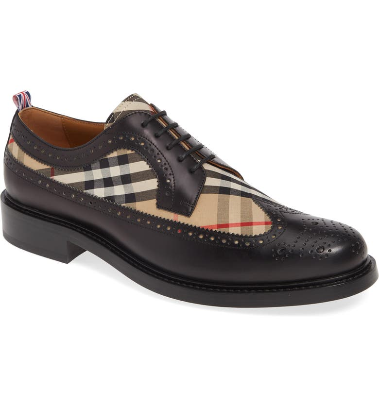 BURBERRY Arndale Wingtip, Main, color, BLACK/ ARCHIVE BEIGE