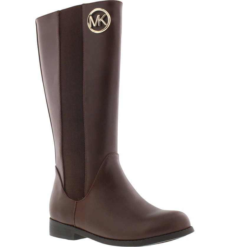 MICHAEL MICHAEL KORS Emma Rubie Faux Leather Riding Boot, Main, color, CHOCOLATE