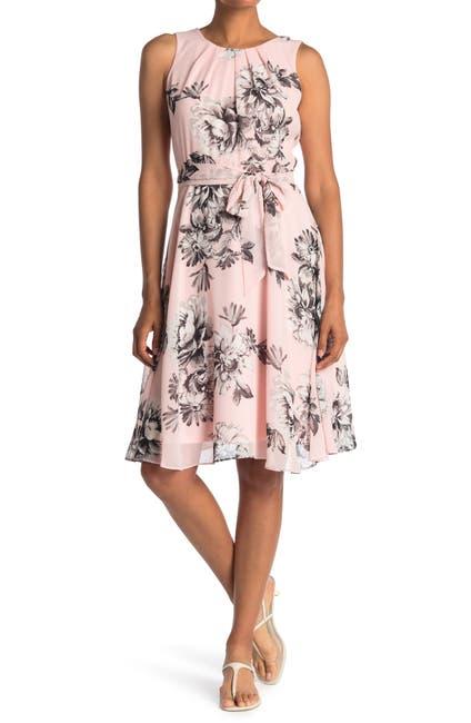 Image of Eliza J Pleated Neck Floral Print Dress