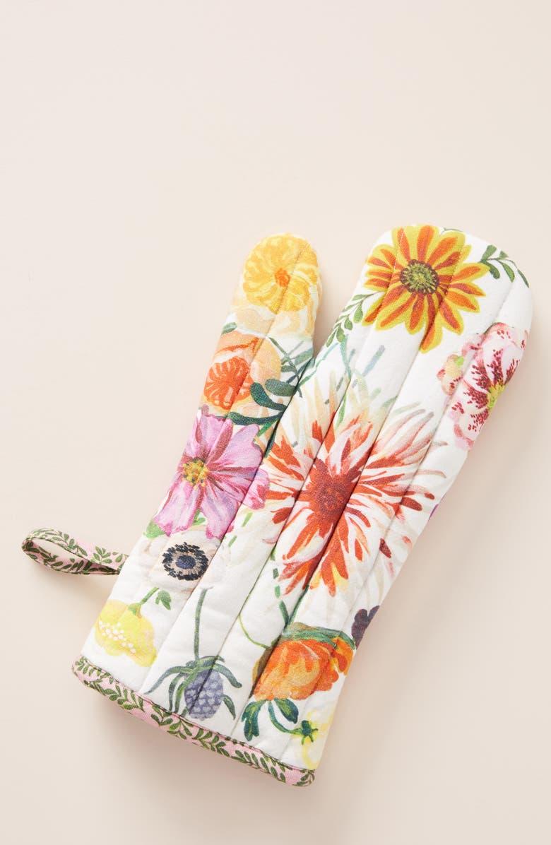 ANTHROPOLOGIE x Nathalie Lete Floral Oven Mitt, Main, color, 100